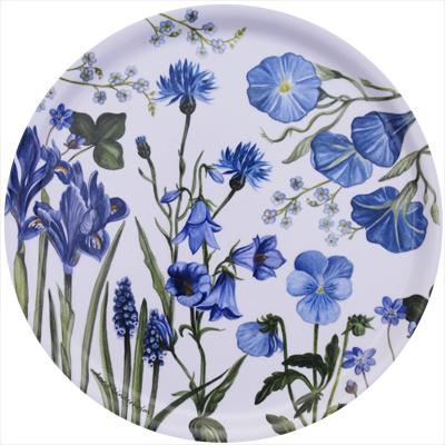 Bricka blå blom (rund)