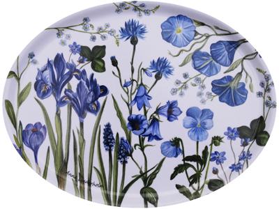 Bricka blå blom (oval)
