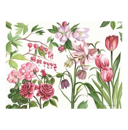 Bordstablett rosa blom